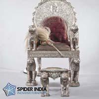 Silver Royal Wedding Throne Chairs