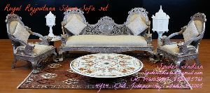 Teak Wood Carved Pure Silver Inlay Sofa Set And Chaise