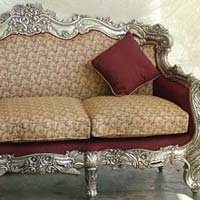 Teak wood silver inlay victorian  sofa set