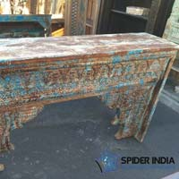 Vintage Teak Carved Console - Blue-Brown