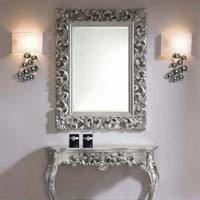 White Metal Inlay Console with Mirror