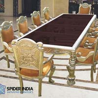 White Metal Silver Inlay Dining Table Set
