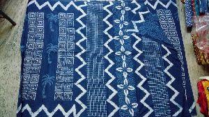 Indigo Cotton Printed Sarees