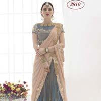 Divine Boutique Gray & Peach Net Lehenga Saree