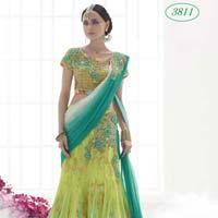 Divine Boutique Parrot Green Net Lehenga Saree
