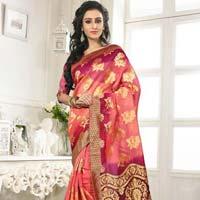 Divine Boutique Pink Banarasi Silk Saree