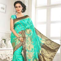 Divine Boutique Sky Blue Banarsi Silk Saree