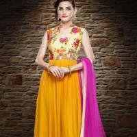 Divine Boutique Yellow Designer Anarkali Suit