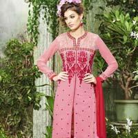 Eye Catching Dusty Pink Embroidered Georgette Salwar Kameez