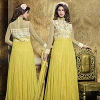 Glamorous Yellow Embroidered Soft Net Designer Anarkali Suit