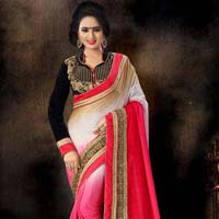 Intriguing Pink Off White Embroidered Pure Crepe Saree