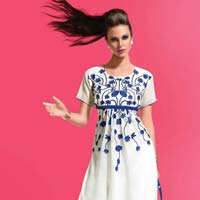 Mesmeric Off White Embroidered Georgette Kurti