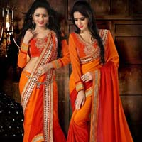 Paramount Orange Embroidered Crepe Jacquard Saree