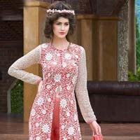 Sensational Dusty Pink Embroidered Georgette Salwar Kameez