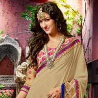 Designer Party Wear Zari Resham Embroidered Saree