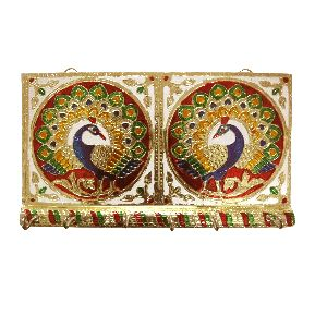 Golden Meenakari Double Peacock Key Holder With 6 Key Hooks (functional Decorative Wall Hanging)