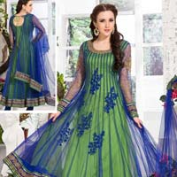 Awesome Green And Royal Blue Ready Made Salwar Kameez