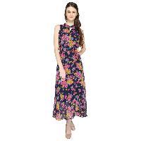 Pamela Blue Floral Halter Party Dress