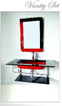 Glass Sink Bathroom Vanity Set