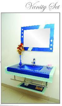 Top quality updated glass sink bathroom vanity set SG. 8006