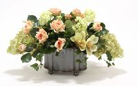 6039a Roses Orchids Hydrangeas Oval Bronze Footed Planter