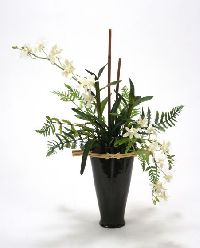 6902 Black White Orchid Garden Black Fuji Vase Floor Basket