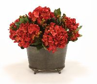 Dark Red Hydrangeas Salal Cotton Phylica Artificial Flower