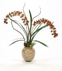Orchids Snake Grass Willow Cones Cowry Shell Glazed Pot Floor Basket