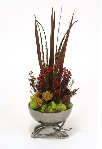 Black Nickel Horn Bowl Phylica Feathers Artificial Flower