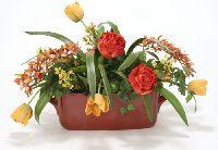 Rust Green Gold Garden Flowers Basket