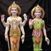 Vishnu Laxmi Marble Statues