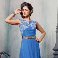 Shonaya Blue Colour Embroidered Georgette Stitched Kurti