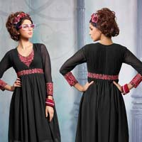 Black Colour Embroidered Georgette Stitched Kurti