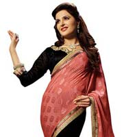 Black Colour Georgette Embroidered Sarees