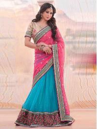 Blue Banarasi Silk Lehenga With Chiffon Dupatta