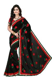 Designer Black Colour  Embroidered Georgette Saree with Blouse MFS-3