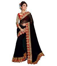 Designer Black Colour Lace Border Georgette Saree with Blouse MFS-1