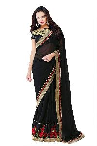 Designer Embroidered Border Work Georgette Saree With Blouse Mfs-9