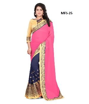 Designer Pink Georgette Wedding Wear Saree With Blouse Mfs-25