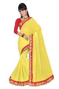 Designer Yellow Colour Lace Border Georgette Saree with Blouse MFS-10