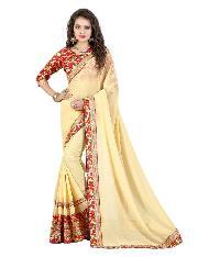 Partywear yellow Georgette Saree with Bhagalpuri Silk Blouse MFS-19