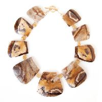 Wood Opalite Collar Necklace