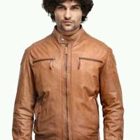 Mens Cognac Leather Jacket