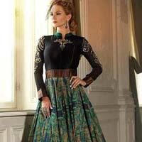 Fb-6538 Long Banglori Silk Anarkali Semi Stitch Salwar Suit