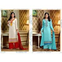 Women Georgette Embroidered Designer Semi-stitched Straight Suit