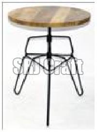 Wood And Metal Bar Table