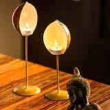 Exclusive Lane Golden Standing Table Tea Light Holder Set 1125