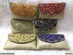 Ladies Silk Clutch Ethnic Bead Embroidery Clutches