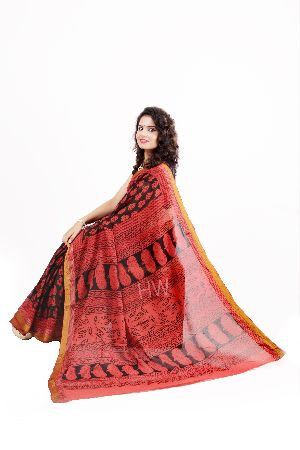 Vegetable Dyed Bagh Hand Printed Sarees
