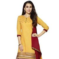 Yellow Embroidered Chanderi Salwar Suits